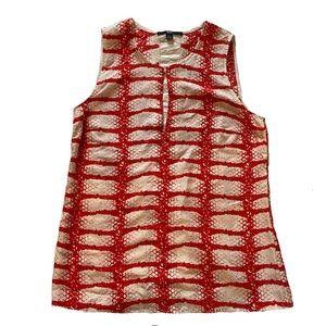 HUGO BOSS red and white print sleeveless top